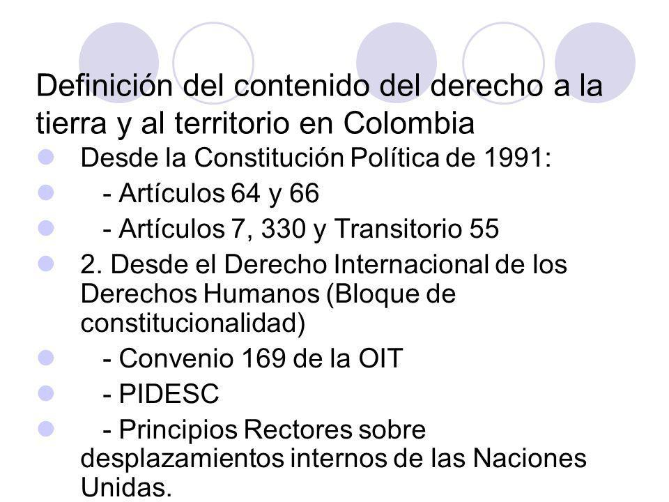 Definición del contenido del derecho a la tierra y al territorio en Colombia