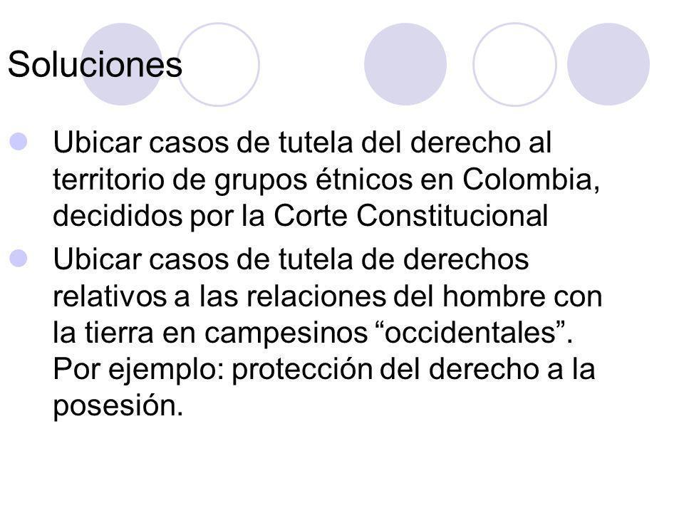 Soluciones Ubicar casos de tutela del derecho al territorio de grupos étnicos en Colombia, decididos por la Corte Constitucional.