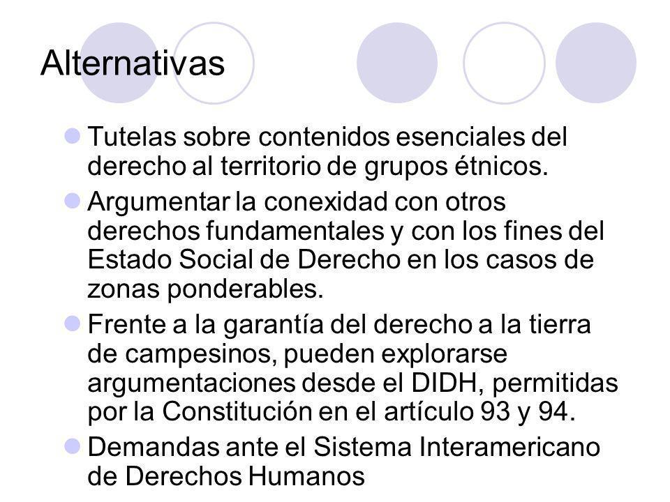 Alternativas Tutelas sobre contenidos esenciales del derecho al territorio de grupos étnicos.