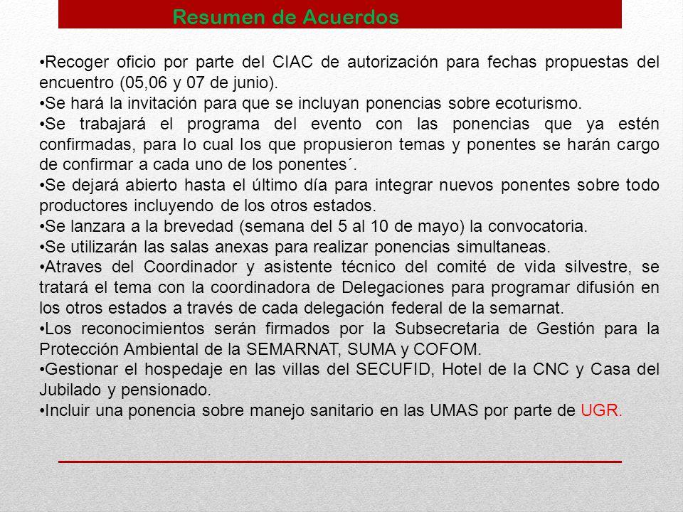 Resumen de Acuerdos Recoger oficio por parte del CIAC de autorización para fechas propuestas del encuentro (05,06 y 07 de junio).