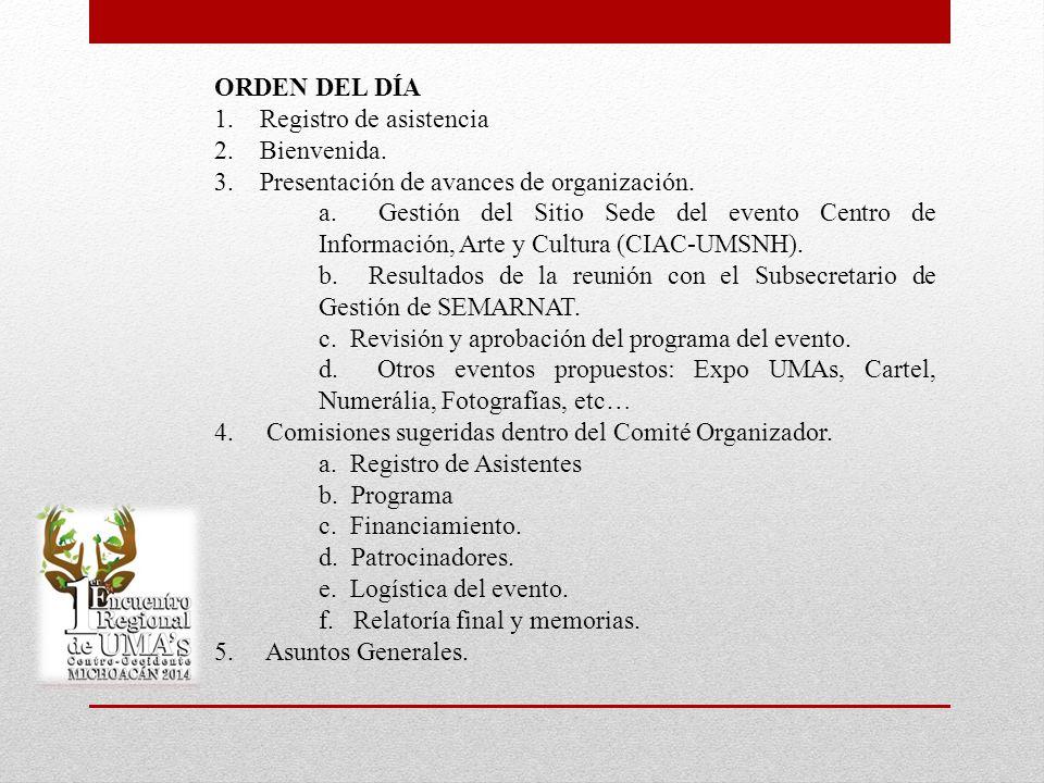 ORDEN DEL DÍA 1. Registro de asistencia. 2. Bienvenida. 3. Presentación de avances de organización.