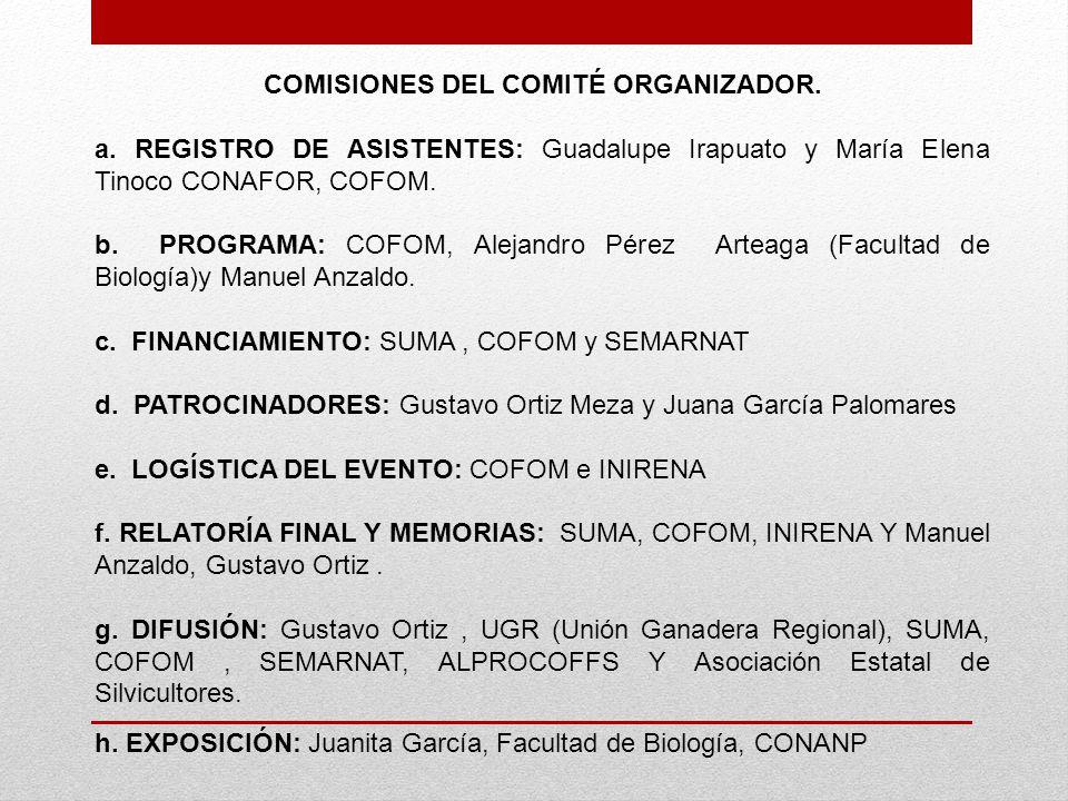 COMISIONES DEL COMITÉ ORGANIZADOR.