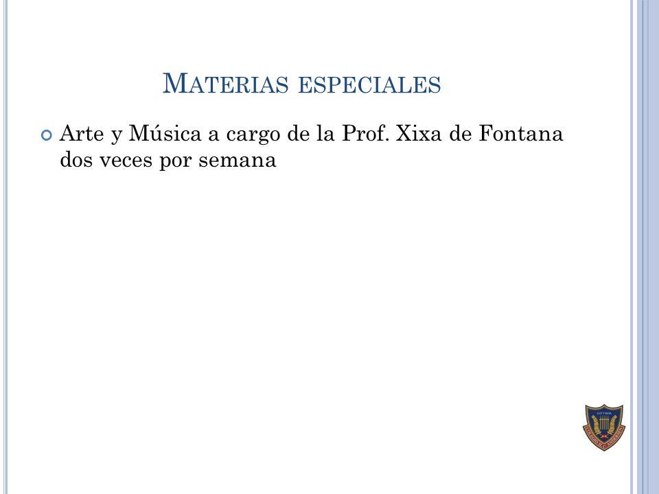 Materias especiales Arte y Música a cargo de la Prof. Xixa de Fontana dos veces por semana