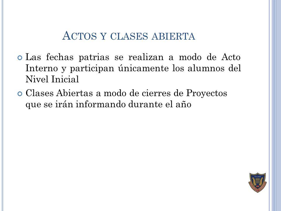 Actos y clases abierta Las fechas patrias se realizan a modo de Acto Interno y participan únicamente los alumnos del Nivel Inicial.