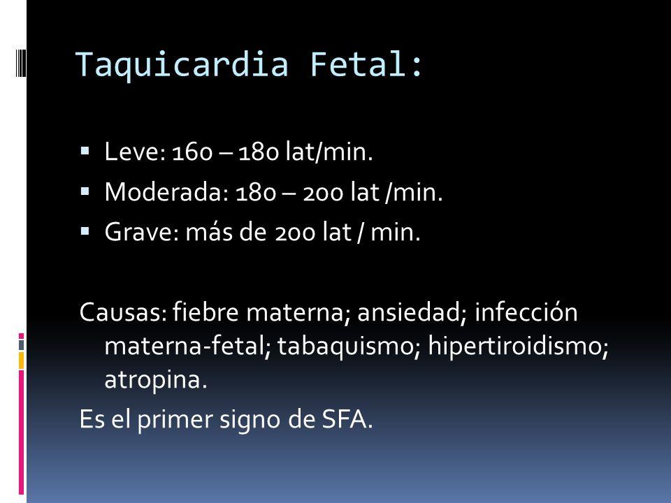 Taquicardia Fetal: Leve: 160 – 180 lat/min.
