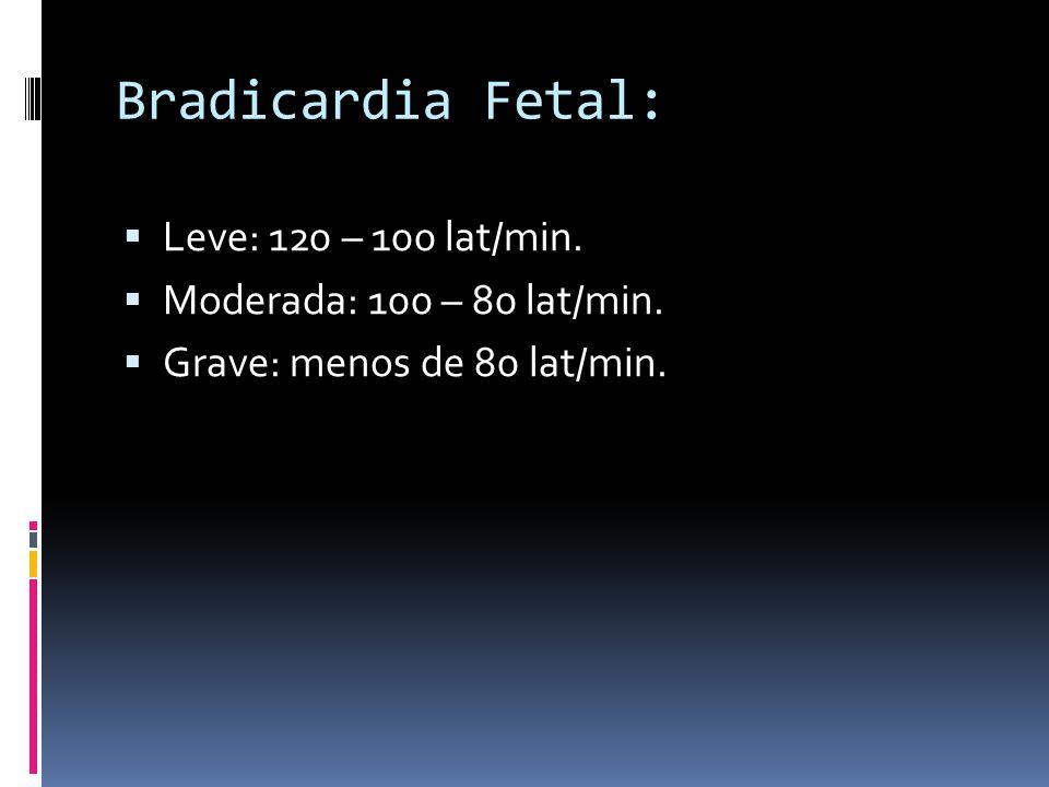 Bradicardia Fetal: Leve: 120 – 100 lat/min.