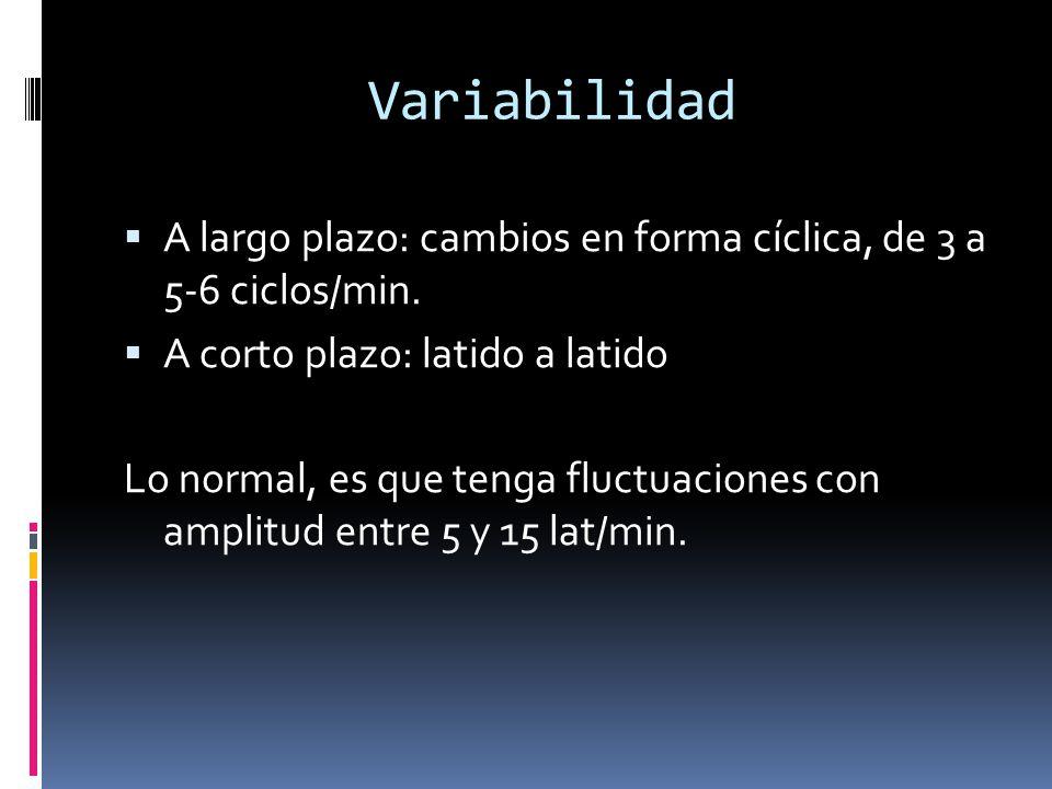 Variabilidad A largo plazo: cambios en forma cíclica, de 3 a 5-6 ciclos/min. A corto plazo: latido a latido.