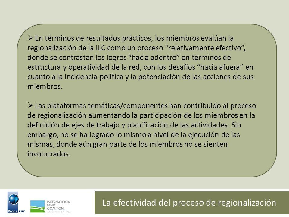 La efectividad del proceso de regionalización
