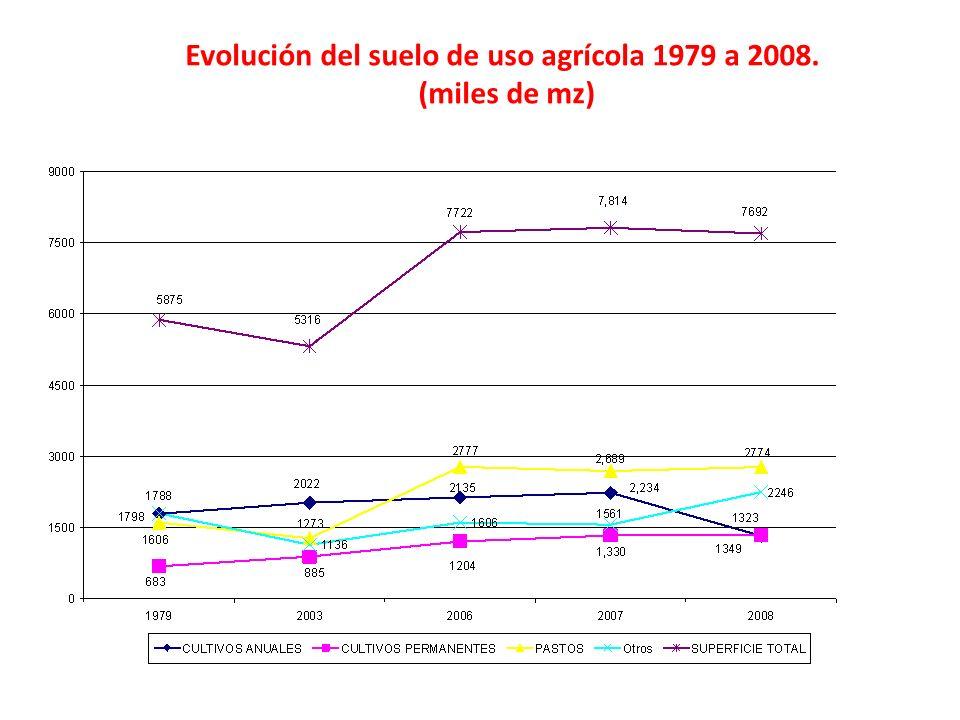 Evolución del suelo de uso agrícola 1979 a 2008.