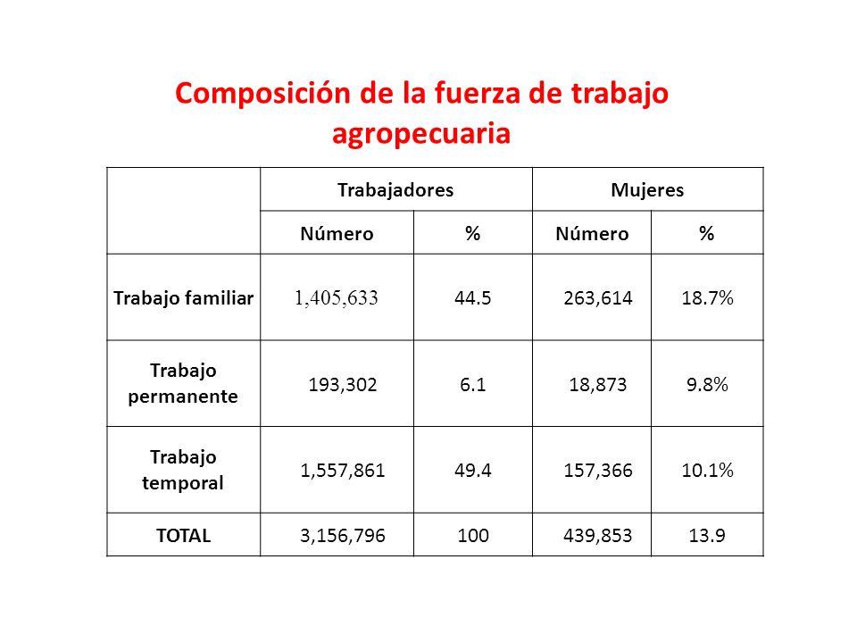 Composición de la fuerza de trabajo agropecuaria