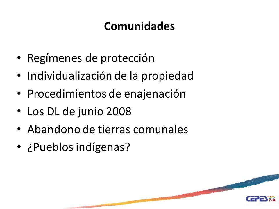 Comunidades Regímenes de protección. Individualización de la propiedad. Procedimientos de enajenación.