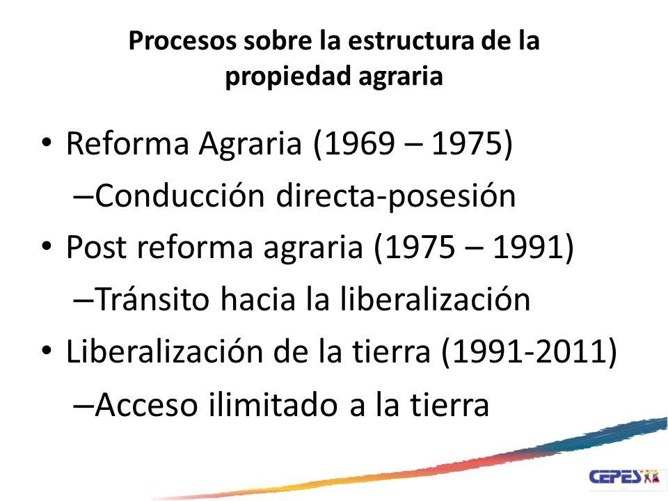 Procesos sobre la estructura de la propiedad agraria