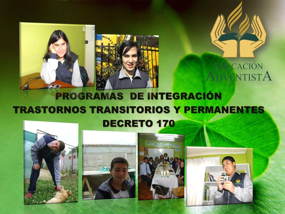 PROGRAMAS DE INTEGRACIÓN TRASTORNOS TRANSITORIOS Y PERMANENTES