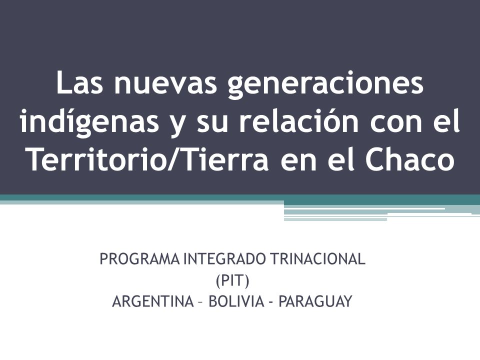 PROGRAMA INTEGRADO TRINACIONAL (PIT) ARGENTINA – BOLIVIA - PARAGUAY