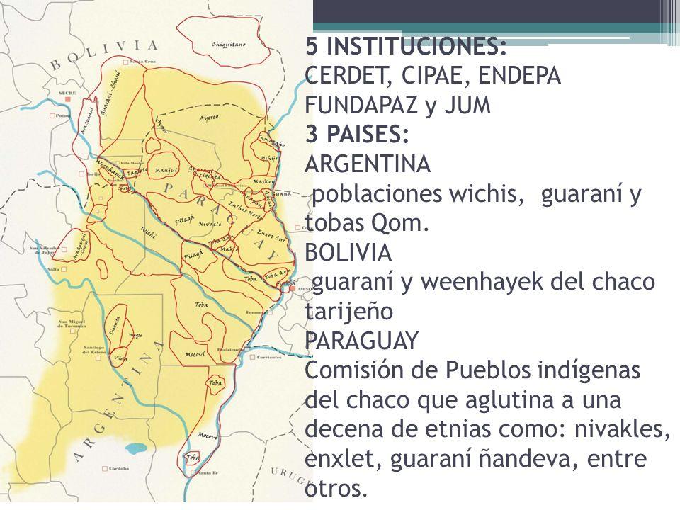 5 INSTITUCIONES: CERDET, CIPAE, ENDEPA FUNDAPAZ y JUM 3 PAISES: ARGENTINA poblaciones wichis, guaraní y tobas Qom.