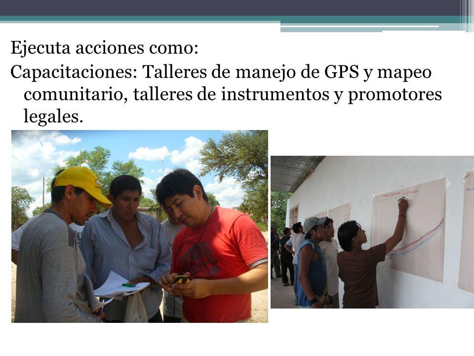 Ejecuta acciones como: Capacitaciones: Talleres de manejo de GPS y mapeo comunitario, talleres de instrumentos y promotores legales.