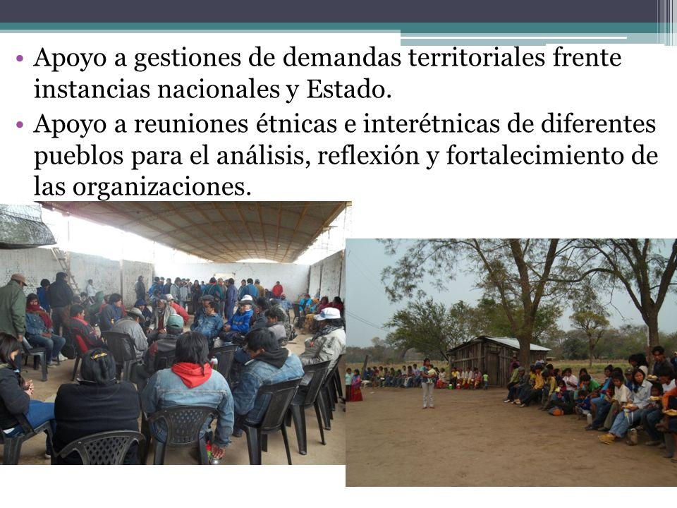 Apoyo a gestiones de demandas territoriales frente instancias nacionales y Estado.
