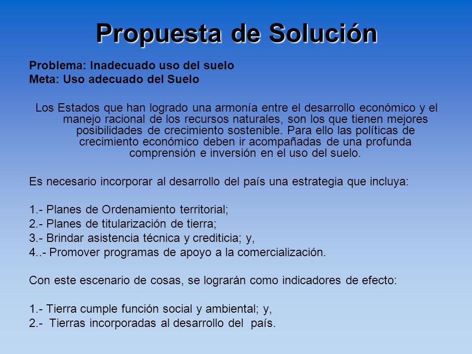Propuesta de Solución Problema: Inadecuado uso del suelo