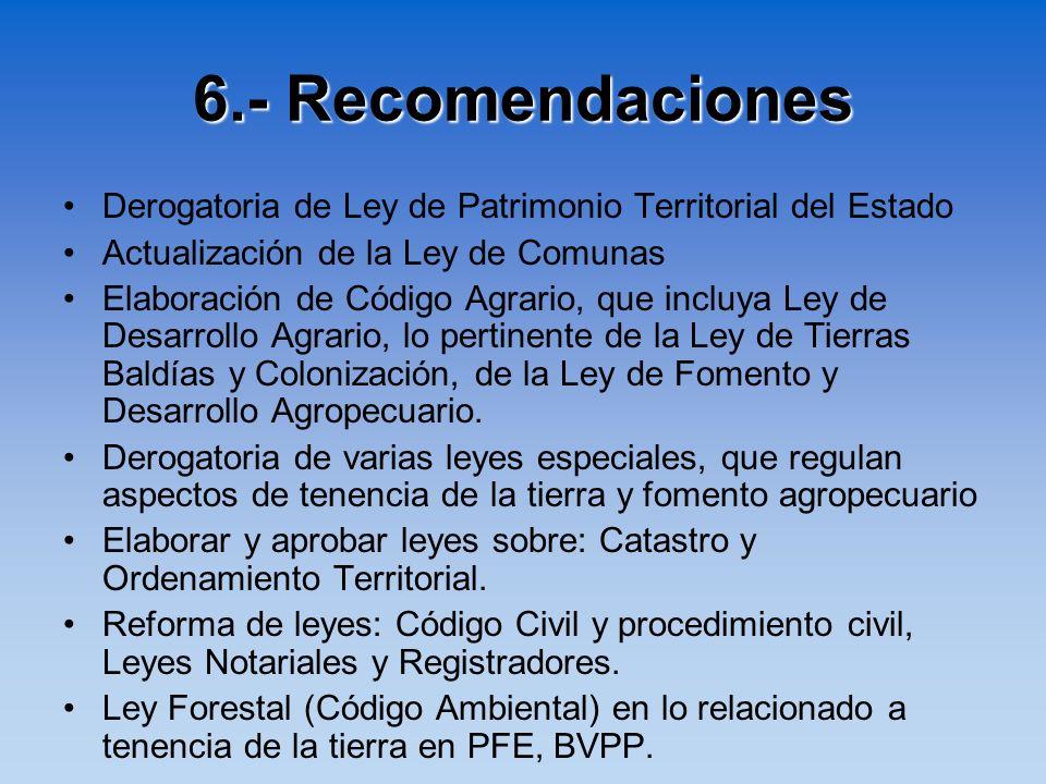 6.- RecomendacionesDerogatoria de Ley de Patrimonio Territorial del Estado. Actualización de la Ley de Comunas.