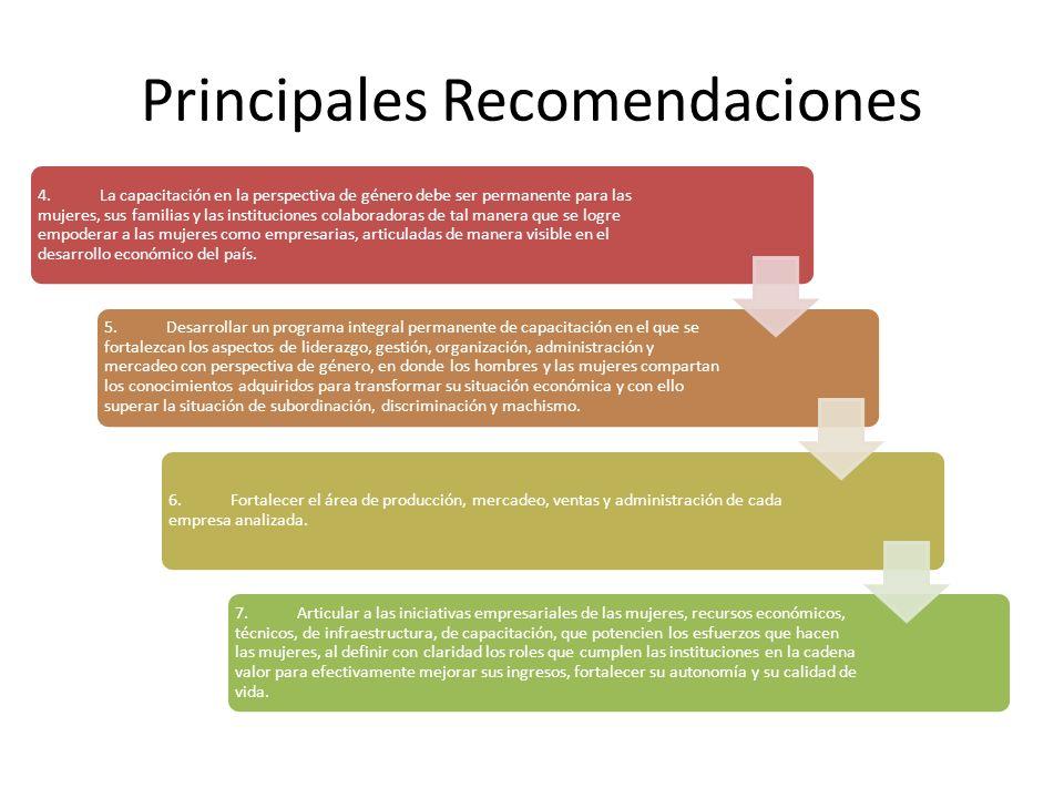 Principales Recomendaciones