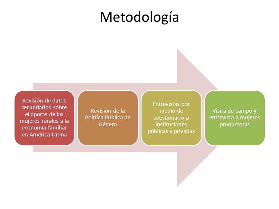 Metodología Revisión de datos secundarios sobre el aporte de las mujeres rurales a la economía familiar en América Latina.