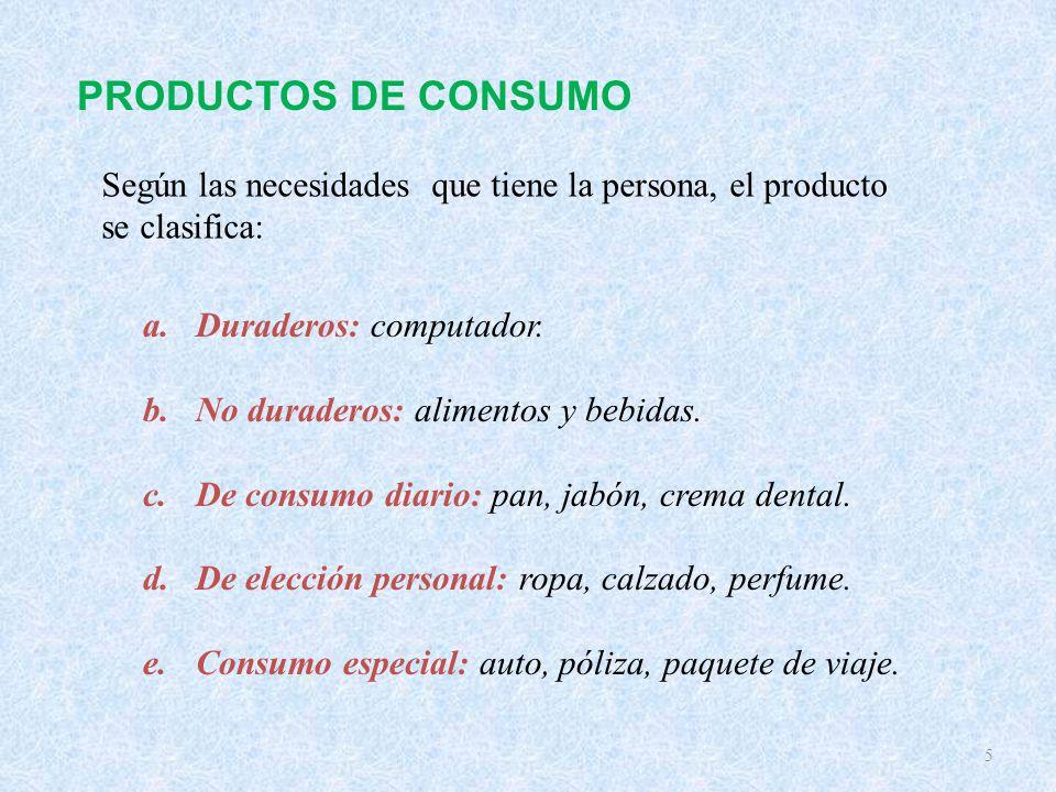 PRODUCTOS DE CONSUMO Según las necesidades que tiene la persona, el producto se clasifica: Duraderos: computador.