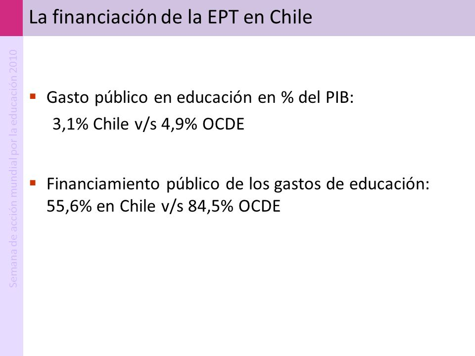 La financiación de la EPT en Chile
