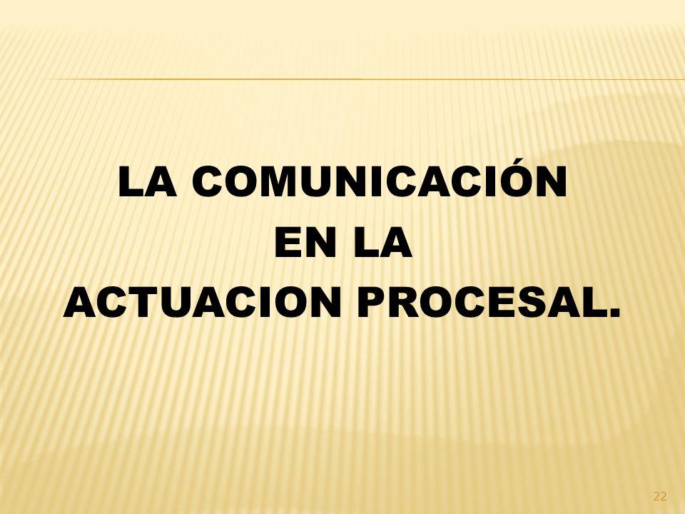 LA COMUNICACIÓN EN LA ACTUACION PROCESAL.