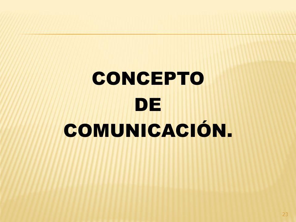 CONCEPTO DE COMUNICACIÓN.