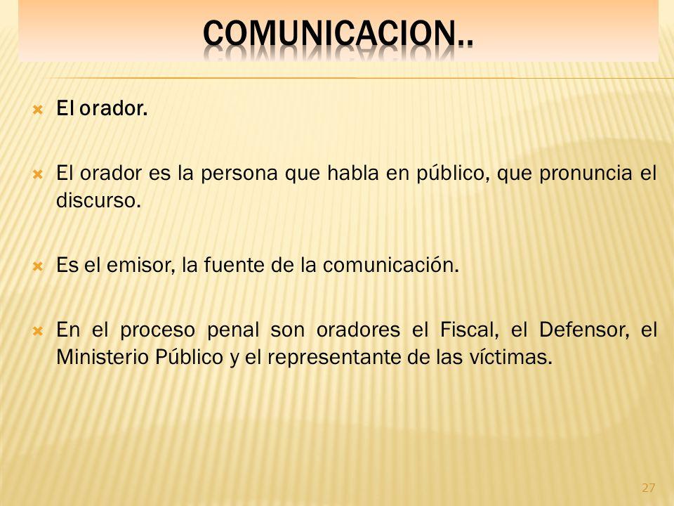 COMUNICACION.. El orador.