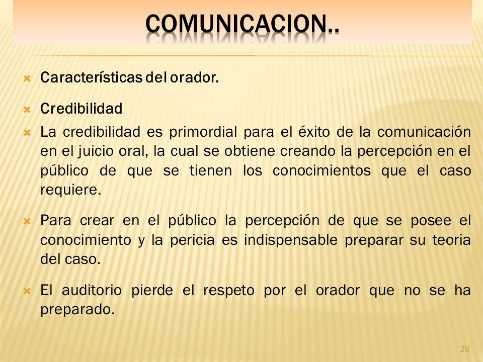 COMUNICACION.. Características del orador. Credibilidad