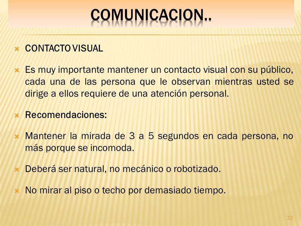 COMUNICACION.. CONTACTO VISUAL