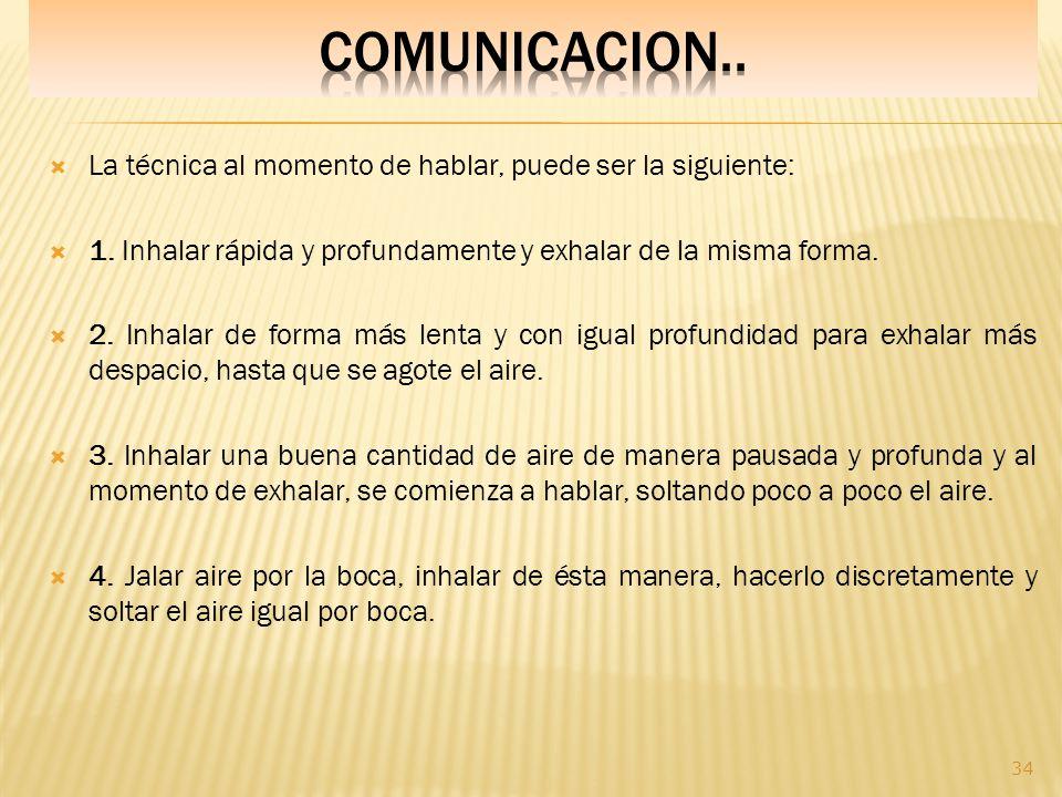 COMUNICACION.. La técnica al momento de hablar, puede ser la siguiente: 1. Inhalar rápida y profundamente y exhalar de la misma forma.
