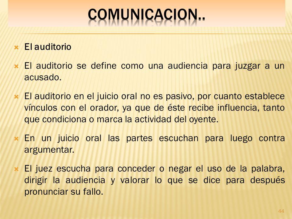COMUNICACION.. El auditorio