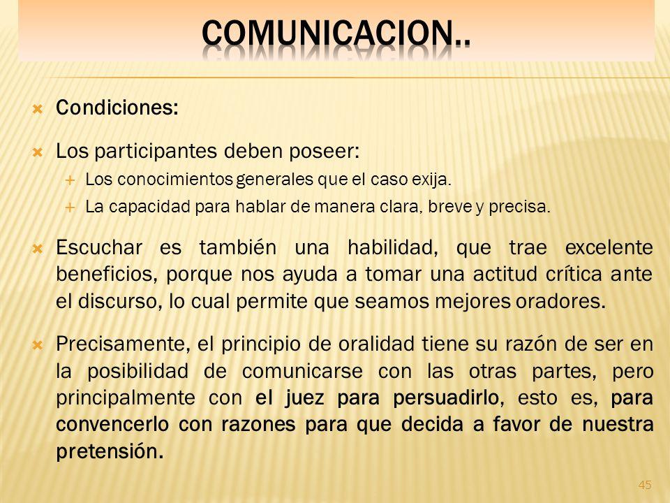 COMUNICACION.. Condiciones: Los participantes deben poseer: