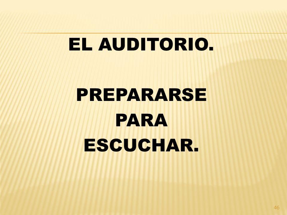 EL AUDITORIO. PREPARARSE PARA ESCUCHAR.
