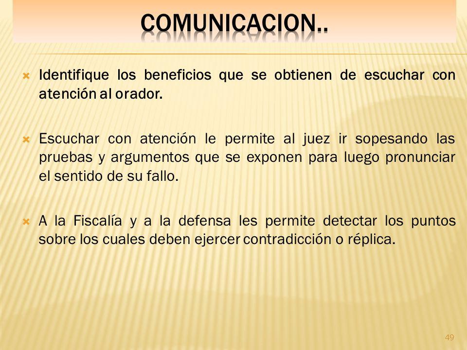 COMUNICACION.. Identifique los beneficios que se obtienen de escuchar con atención al orador.