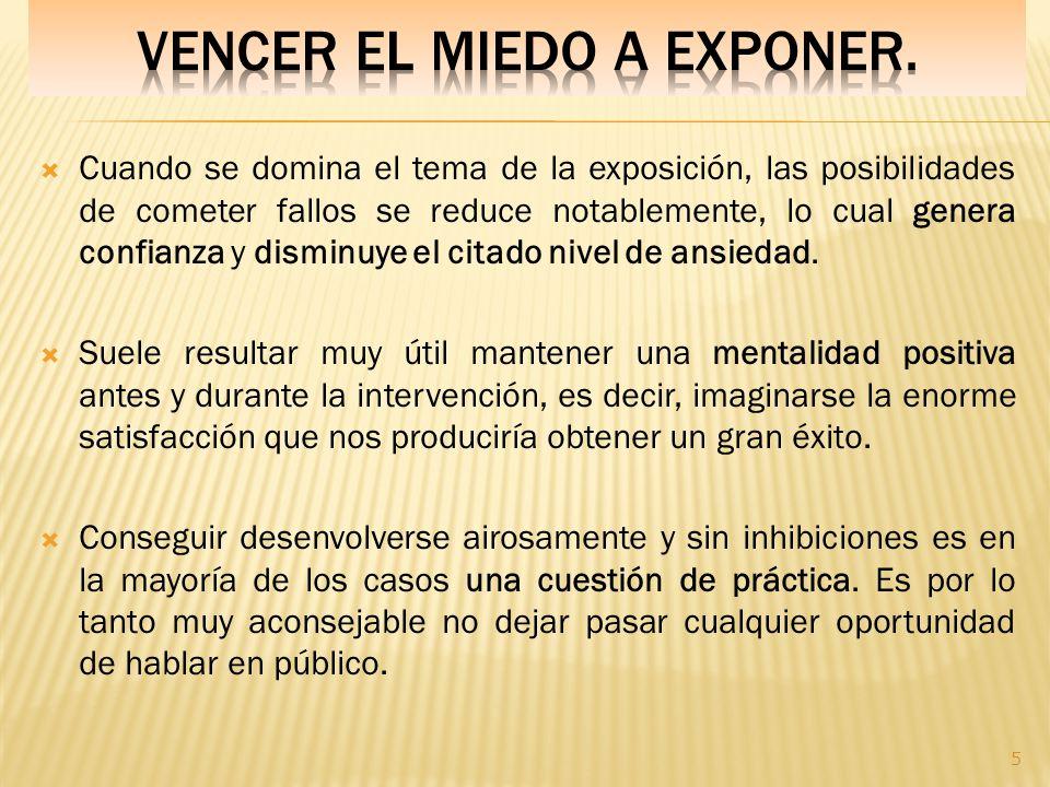 VENCER EL MIEDO A EXPONER.