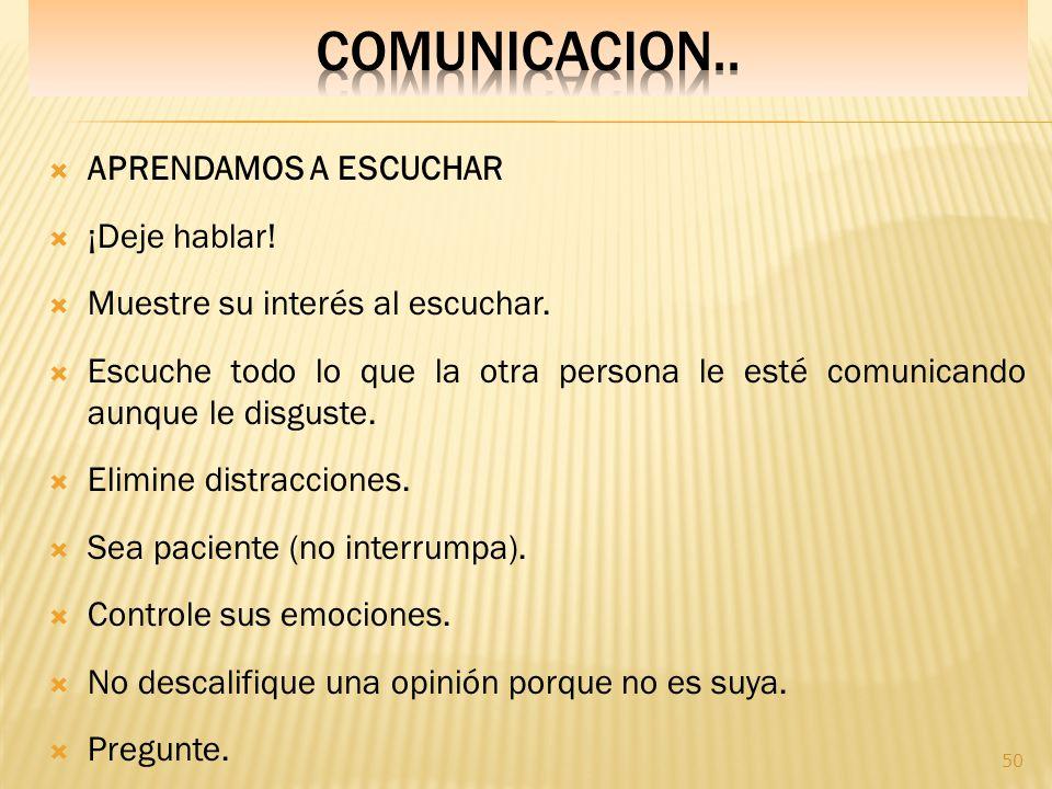 COMUNICACION.. APRENDAMOS A ESCUCHAR ¡Deje hablar!