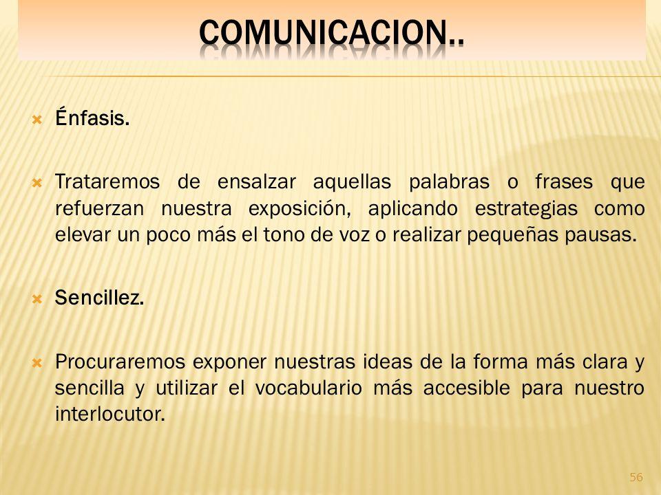 COMUNICACION.. Énfasis.