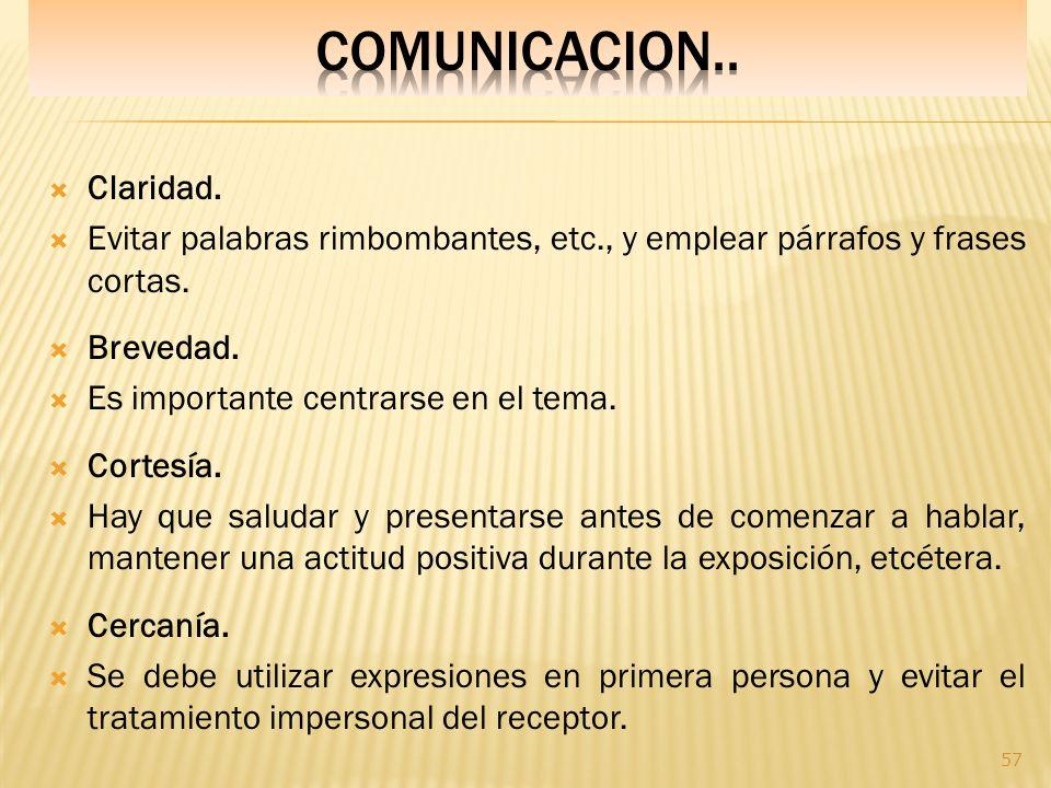 COMUNICACION.. Claridad.