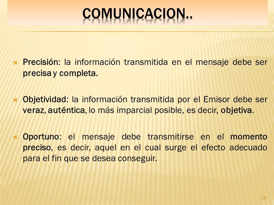 COMUNICACION.. Precisión: la información transmitida en el mensaje debe ser precisa y completa.