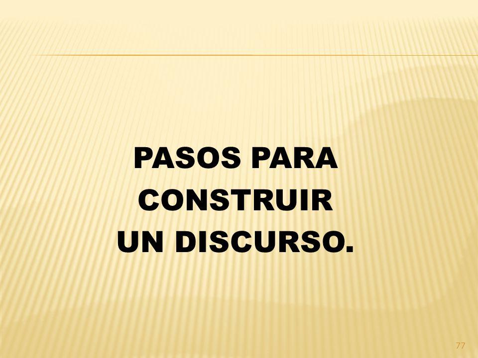 PASOS PARA CONSTRUIR UN DISCURSO.