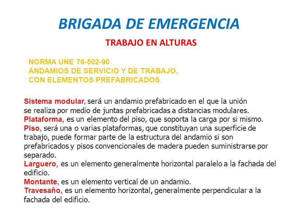 BRIGADA DE EMERGENCIA TRABAJO EN ALTURAS NORMA UNE 76-502-90