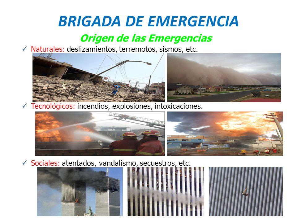 BRIGADA DE EMERGENCIA Origen de las Emergencias