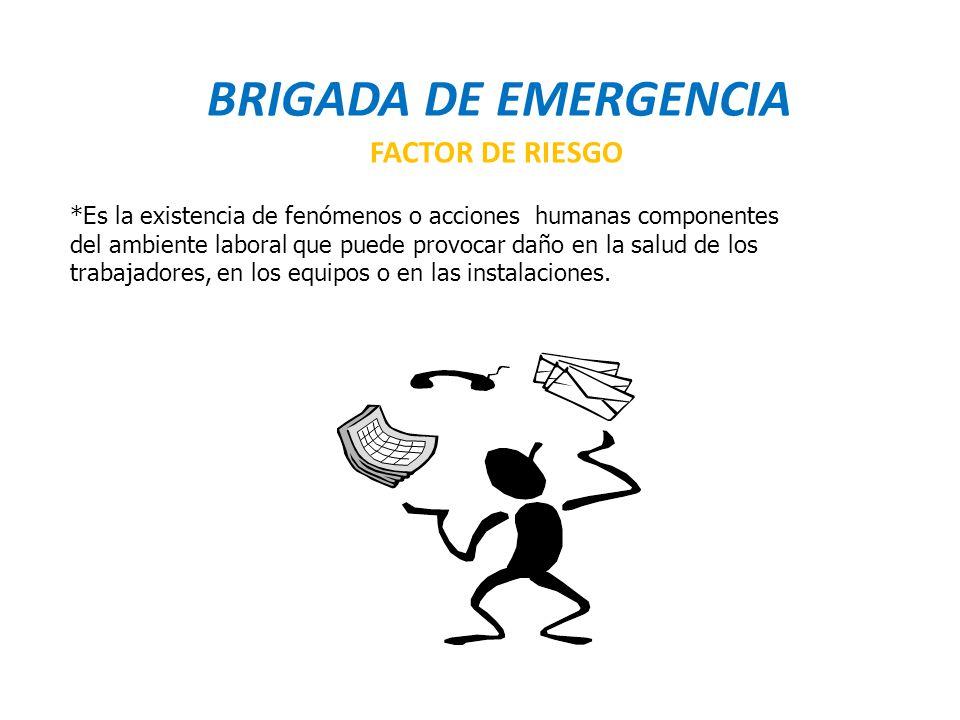 BRIGADA DE EMERGENCIA FACTOR DE RIESGO