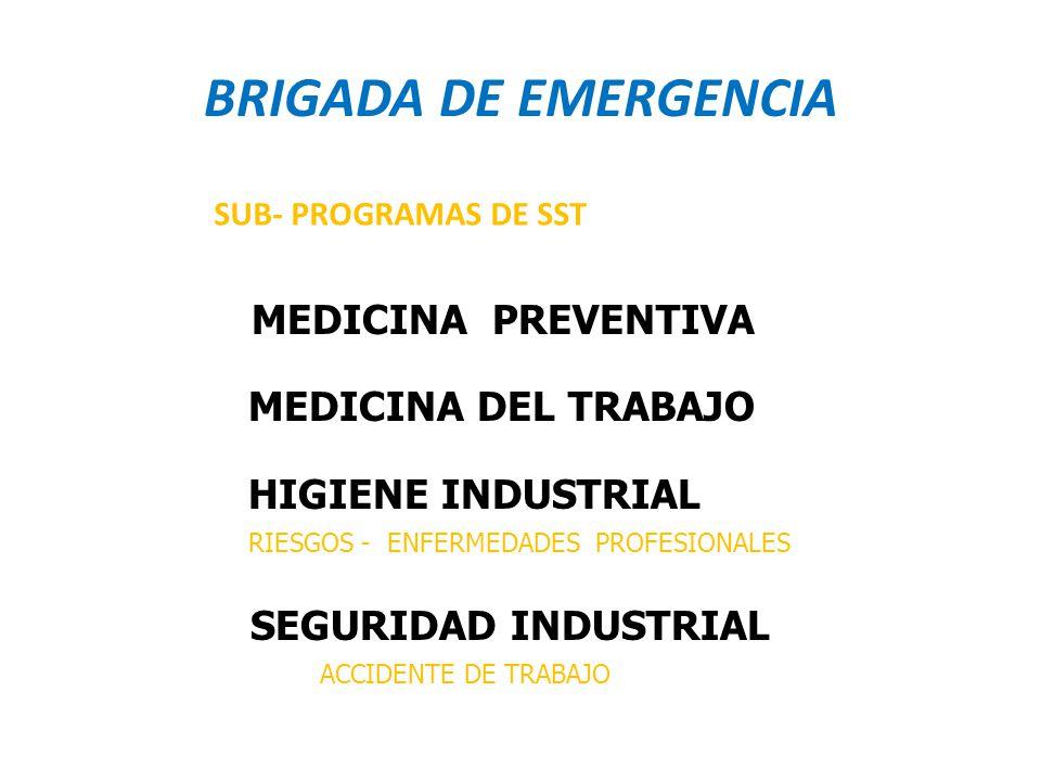 BRIGADA DE EMERGENCIA MEDICINA DEL TRABAJO HIGIENE INDUSTRIAL