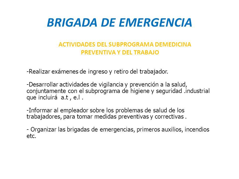 BRIGADA DE EMERGENCIA ACTIVIDADES DEL SUBPROGRAMA DEMEDICINA PREVENTIVA Y DEL TRABAJO.