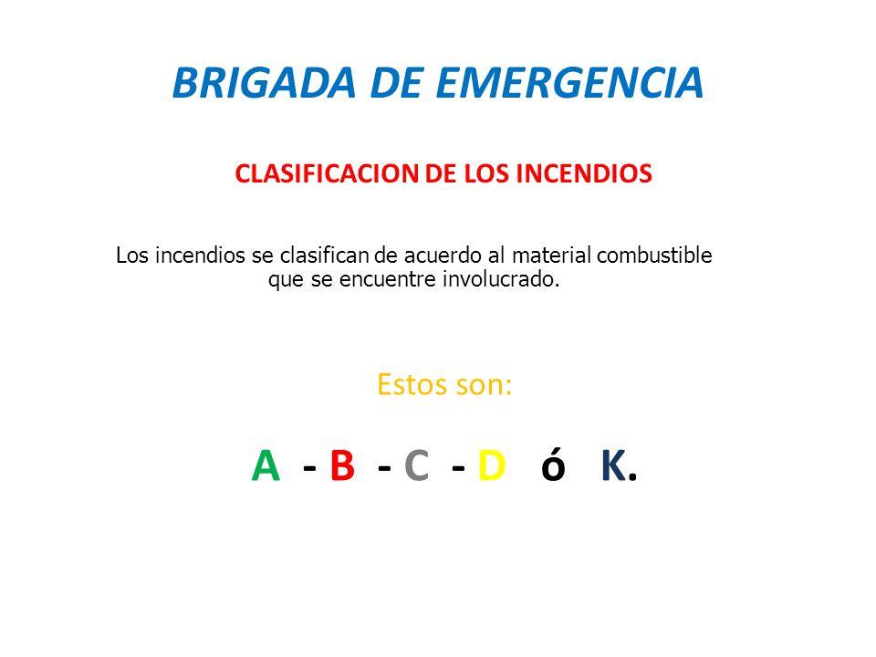 BRIGADA DE EMERGENCIA A - B - C - D ó K.