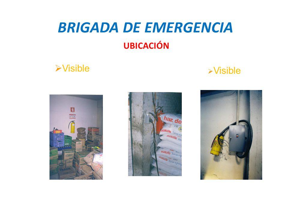 BRIGADA DE EMERGENCIA UBICACIÓN Visible Visible
